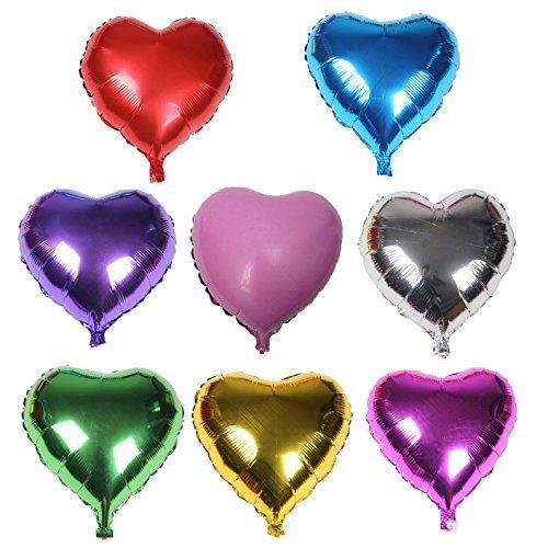 8PCS mixcolor Helium Foil balloons ,Heart Shape