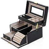 Songmics Black Leather Jewelry Box Lockable Makeup Storage Case with Mirror UJBC114