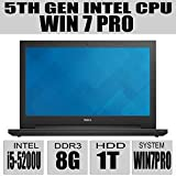 2015 Newest Version Dell Inspiron 15 15.6-Inch HD Laptop - Newest 5th Generation Intel i5-5200U Processor 3M Cache up to 2.70 GHz - 8GB - 1TB HDD - Tray load DVD Drive - Windows 7 Professional 64bit (includes Windows 8.1 Pro 64bit License and Media) - Black