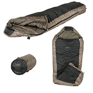 Voodoo Tactical Mummy -10 degree Sleeping Bag, Right Hand, Black/Coyote