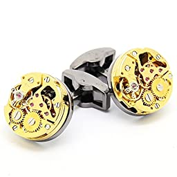 Mechanical Watch Movement Frech Cuff Link: Gold Round Movement Withount Handle,Black Round Naked Shell ¡­