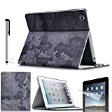 Eallc Retro Envelope & Map Pattern Smart Leather Case Cover Skin for Apple iPad 4 3 2 with Screen Protector+Stylus Pen (Black)