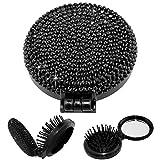 TASIRO 2-in-1 Bling Bling Folding Makeup Mirror With Massaging Hair Brush (Black)