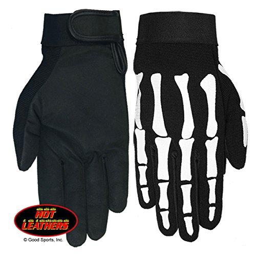 Hot Leathers, SKELETON BONES, Heavy Duty Fabric with Long Lasting Durability MECHANICS GLOVES - XL Black