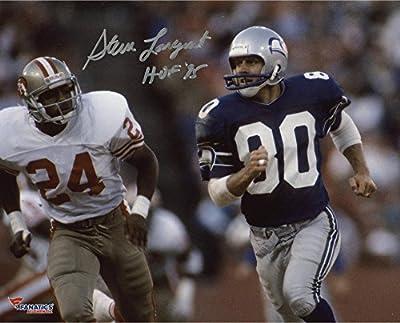 "Steve Largent Seattle Seahawks Autographed 8"" x 10"" Blue Uniform Running Photograph with HOF 95 Inscription - Fanatics Authentic Certified"