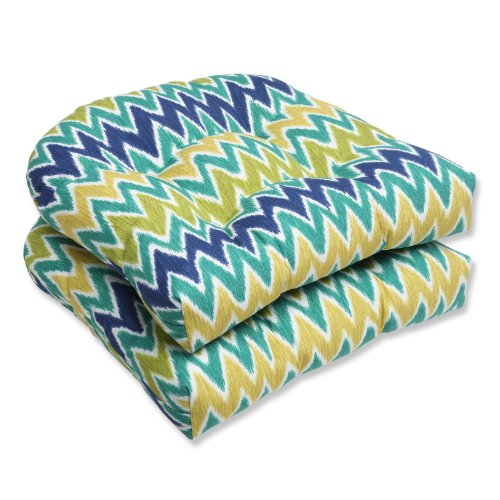 Pillow Perfect Outdoor Zulu Wicker Seat Cushion, Blue/Green, Set of 2 image