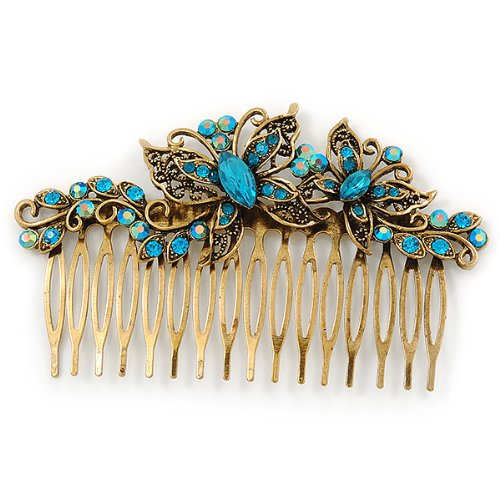 Vintage Inspired Teal Blue Swarovski Crystal 'Butterfly' Side Hair Comb In Antique Gold Tone - 105mm 1