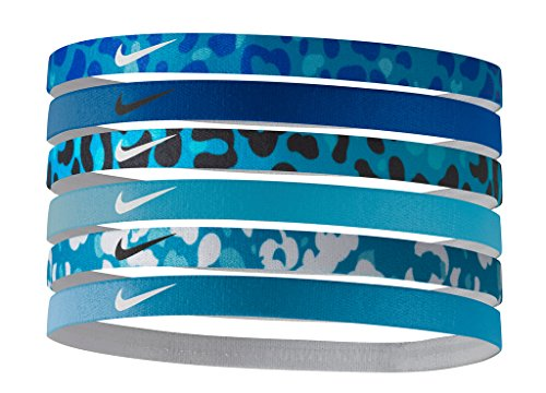 Nike Printed Headbands Assorted 6pk (Blue Lagoon/Game Royal/Blue Lagoon)