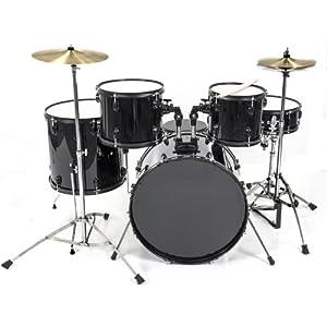 drum set 5 pc complete adult set cymbals full size black new drum set musical. Black Bedroom Furniture Sets. Home Design Ideas