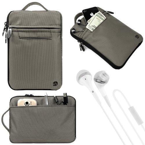 """(Grey) Vangoddy Hydei Bag Case For Monster M7 7"""" Tablet + White Vangoddy Headphones"""