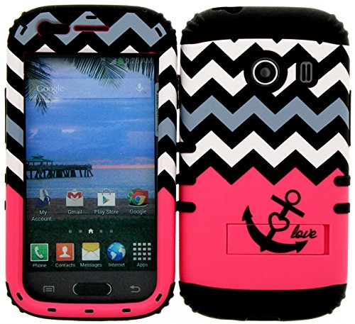 Wireless Fones TM Hybrid Impact Dual Layer Cover Case for Samsung Galaxy Ace Style S765c Straight Talk, Net10 and TracFone Hot Pink Block Anchor Love Heart Chevron On Black Skin (Camo Cases For Samsung Galaxy Ace compare prices)