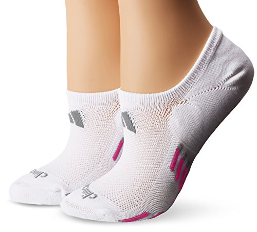 Adidas Women's Climacool X III Super No Show Socks (2 Pack), One Size, White/Mono Pink/Light Onix