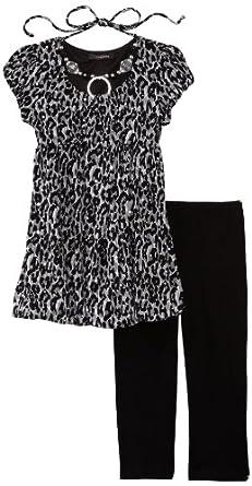 My Michelle Big Girls' Short Sleeve Bubble Hem Set, Black, 7