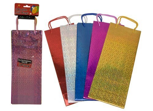 Partyrama Lot de 3 sacs cadeaux pour bouteille de vin Couleurs assorties