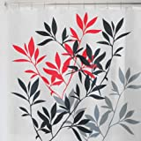 InterDesign Leaves Shower Curtain, Black and Red, 72-Inch by 72-Inch