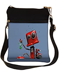 Snoogg Red Cute Machine Cross Body Tote Bag / Shoulder Sling Carry Bag