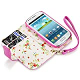 Samsung i8190 Galaxy S3 Mini Premium Faux Leather Wallet Case (Hot Pink)