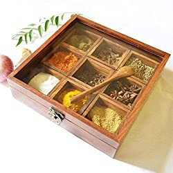 Spectrahut Spice Box - Sheesham Wood Spice Box Container - Spice Box Holder