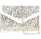 Womens Envelope Clutch Chain Foil Floral Purse Lady Handbag Shoulder Evening Bag (White)