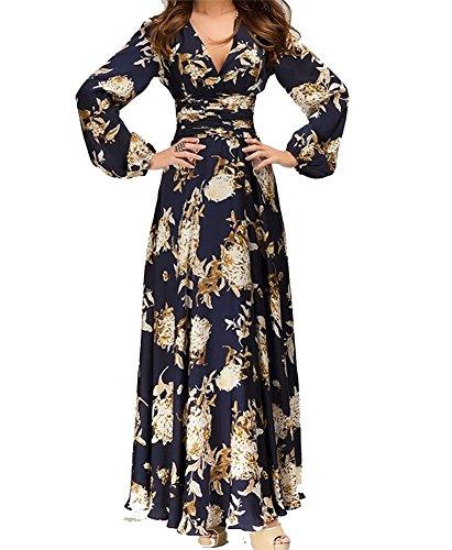 Hosaire 1X Vintage Donna Scollo a V Floreale Pizzo Gonne Lunghe Eleganti Abito Da Sera Vestito,blu,Dimensioni: L