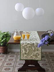 Paisley Fraiche ~ Lime Green Cream Elegant Cotton Table Runner 18x108