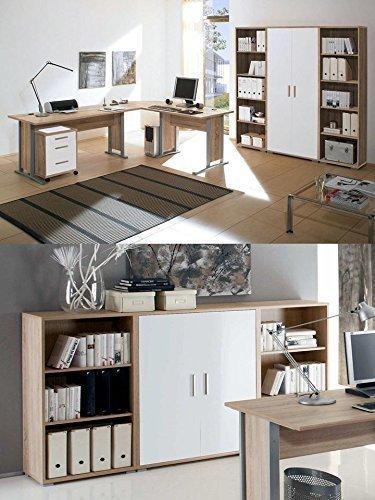 Arbeitszimmer-mit-Winkelschreibtisch-komplett-Set-Office-Line-mit-Highboard-in-Eiche-Sonoma-Wei-glanz