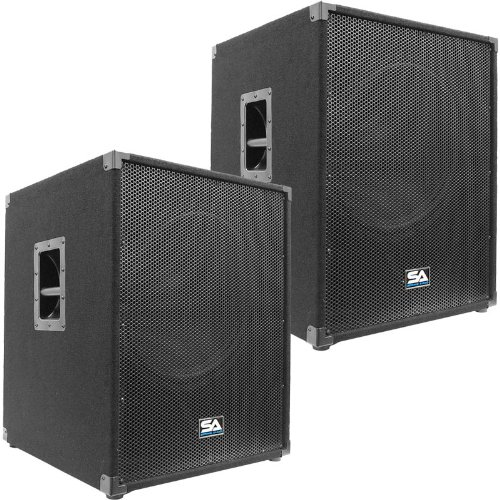 """Seismic Audio - Aftershock-18Pair - Pair Of Powered Pa 18"""" Subwoofer Speaker Cabinets"""