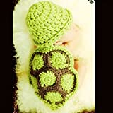Museya Süße Schildkröte Style Baby Kleinkinder Neugeborenen Handarbeit häkeln Mütze Hut Kleidung Baby Foto Props (grün)