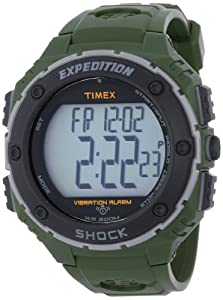 Timex Men's T499519J Expedition Shock XL Vibrating Alarm Green Resin Strap Watch