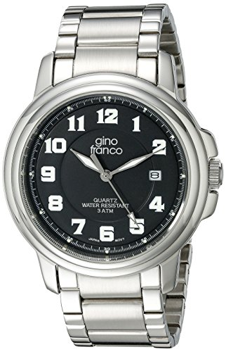 gino franco Men's 909BK Round Stainless Steel Bracelet Watch