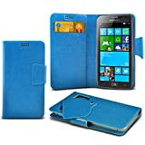 (Baby Blue) Samsung ATIV S Neo Protective Mega Thin Faux Leather Suction Pad Wallet Case Cover Skin With Credit/Debit Card Slots Aventus