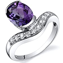 buy Channel Set 1.50 Carats Amethyst Ring In Sterling Silver Rhodium Nickel Finish Size 6