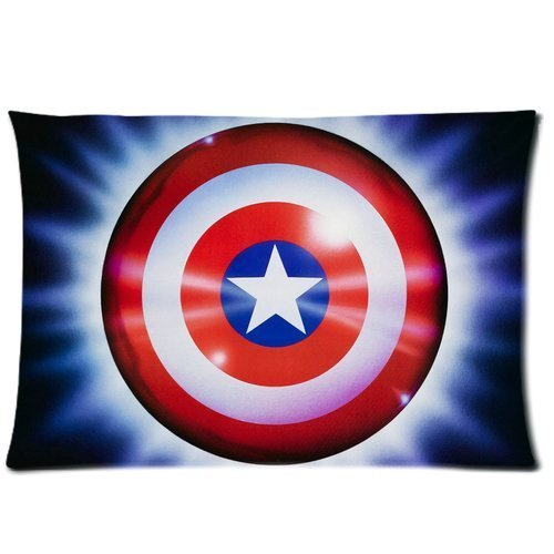 Generic Custom Cartoon Captain America Shining Printed Zippered Pillowcase Cushion Cover 20*30(Twin Sides) front-1008626