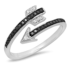 0.15 Carat (ctw) Sterling Silver Black & White Diamond Bridal Vintage Right Hand Arrow Ring (Size 7)