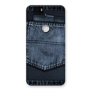 Enticing Navy Jeans Pocket Back Case Cover for Google Nexus-6P
