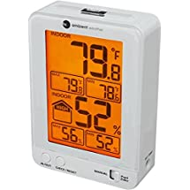 Ambient Weather WS-2063-W Indoor Temperature and Humidity Monitor with Backlight