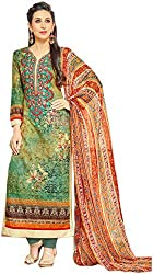 Emerald Green Pakistani style Embroidered Straight Suite - Un-stitched (With Discount and Sale Offer)