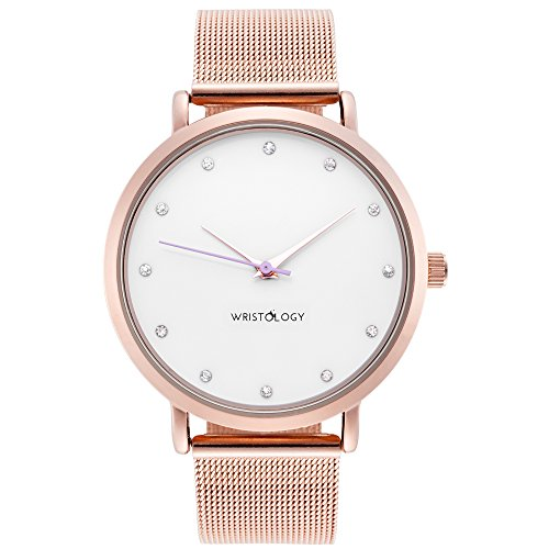 WRISTOLOGY Olivia Womens Crystal Rose Gold Boyfriend Watch Metal Mesh Strap (Gold Watch With Crystals compare prices)