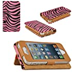 VanGoddy Mary Self Stand Case Cover for Apple iPod Touch 5 Generation and Apple iPhone 5 / 5S / 5C Generation (Pink and Black Zebra)