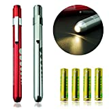 Zitrades Medical Reusable LED Penlight with Pupil Gauge Warm White 2PCS
