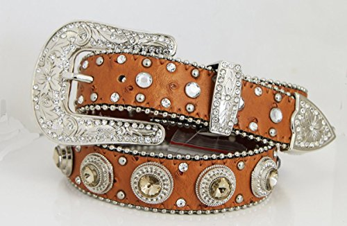 Kids Bling Rhinestone Crystal Western Belt Cowgirl Cowboy Brown Silver Buckle, Large front-379944