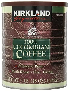 Signature 100% Colombian Coffee Supermo Bean Drak Roast-Fine Grind, 3 Pound