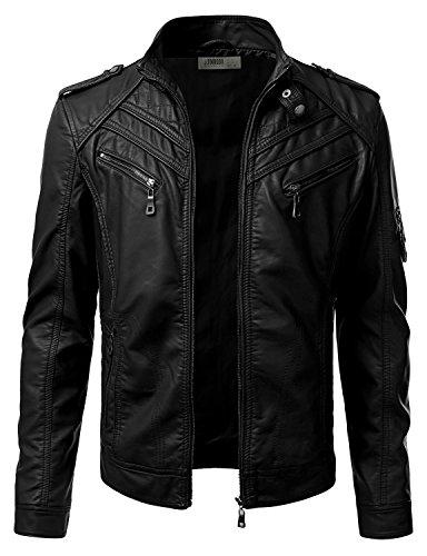 iDarbi Mens Prime PU Leather Motorcycle Rider Jacket