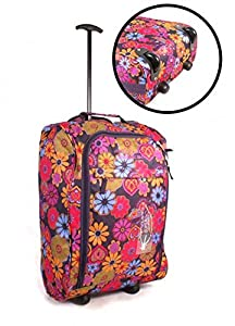 "Lightweight Overnight Cabin Bag On Wheels Easyjet BA, Weekend Hospital Trolley Bag Approx 19/20 inch32x50x27cm (HxWxD APPROX 20""SIZE 50cm X 35cm X 20cm, 41LTRS, (PLUM BACKGROUND WITH MULTI COLOURED FLOWERS) Wheeled Hand Cabin Flight bag Approx 19/20inch,"