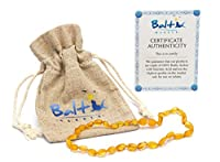 Raw Baltic Amber Teething Necklaces For Babies (Unisex) (Honey Olive) - Anti Flammatory, Drooling & Teething Pain Reduce Properties - Natural Certificated with the Highest Quality Guaranteed. from Baltic Wonder
