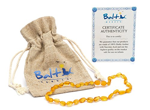 Raw Baltic Amber Teething Necklaces For Babies (Unisex) (Honey Olive) - Anti Flammatory, Drooling & Teething Pain Reduce Properties - Natural Certificated with the Highest Quality Guaranteed. Review