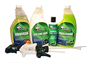 Environmentally Friendly Car Care Bundle - Pearl Waterless Wash, Tire Shine, Nano Wax, All Purpose Cleaner by PearlUSA, Inc.
