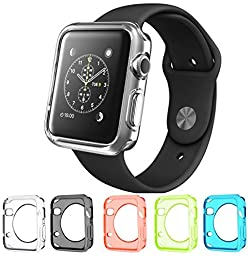 Apple Watch Case, Monoy® [Ultra-Thin] Apple Watch 42mm Case Slim **NEW** TPU Transparent Full Body Apple Watch Cover [5 Color Combination Pack] for Apple Watch 42mm (5 Color Pack)