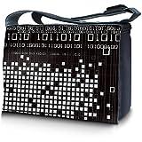 Luxburg® Design Messenger Bag Notebooktasche Umhängetasche für 17,3 Zoll, Motiv: Binärzahlen