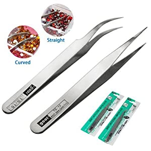 Smallwise Trading 2 X Rhinestones Gems Eyelash Nippers Tweezers Nail Art Acrylic Gel Picking Tool